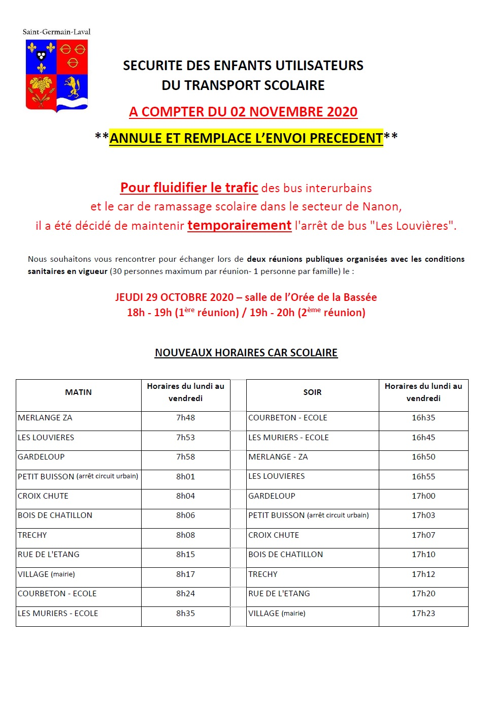 Horaires bus 02-11-2020